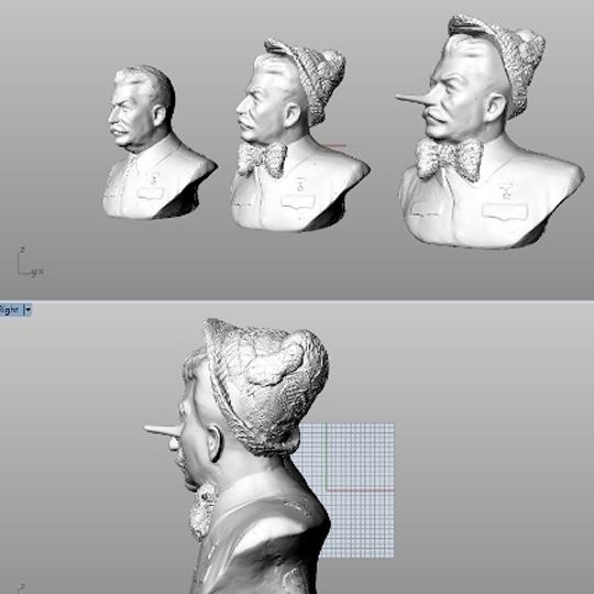 3D szkennelt modellek kombinálása és módosítása: Sztálin vs. Pinokkió